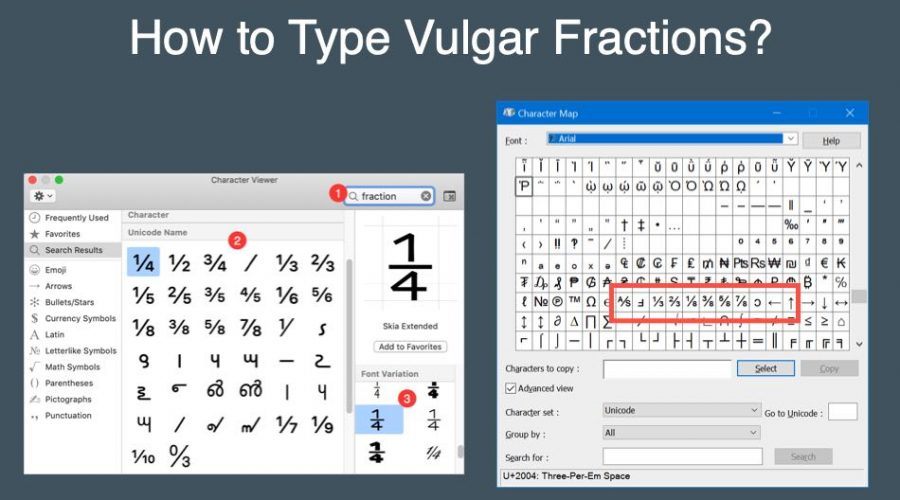 Keyboard Shortcuts for Vulgar Fractions in Windows and Mac