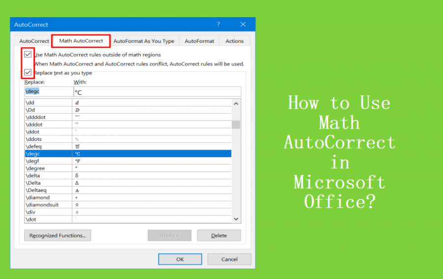 How to Use Math AutoCorrect Shortcuts in Microsoft Office?