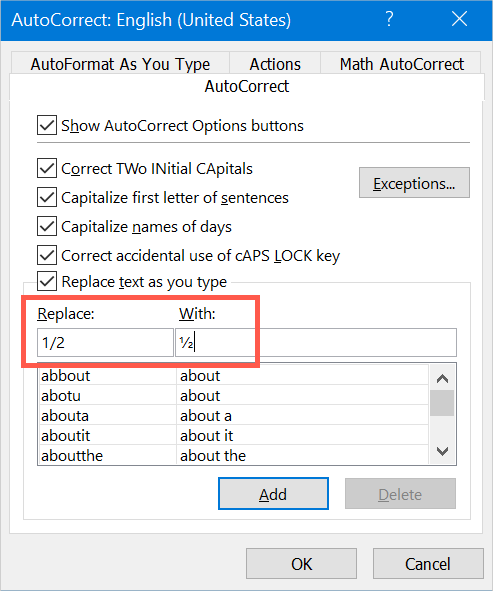 Insert Fraction Numbers in Excel