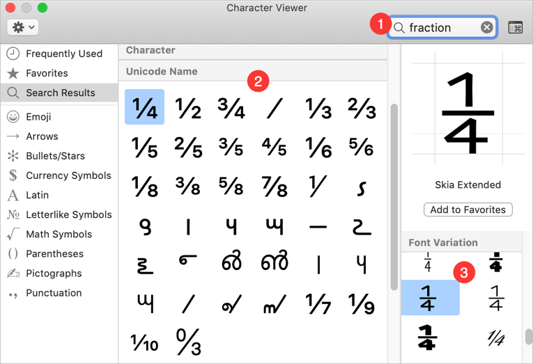Inserting Fraction Numbers from Character Viewer Mac