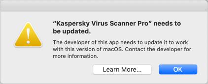 Kaspersky 32-bit App Error in macOS Catalina
