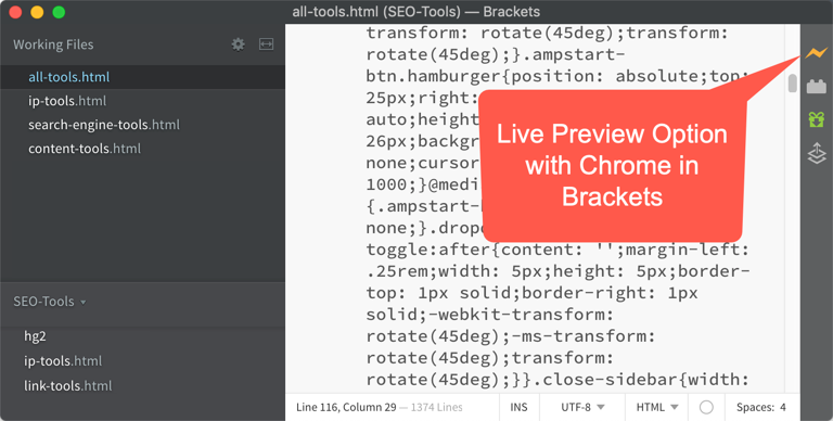 Live Preview Option with Chrome in Brackets