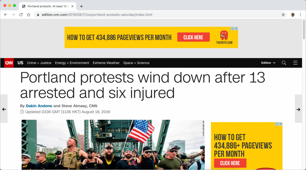 Normal CNN Webpage with Advertisements