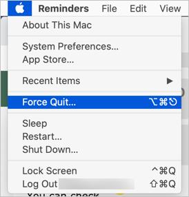 Open Force Quit in Mac