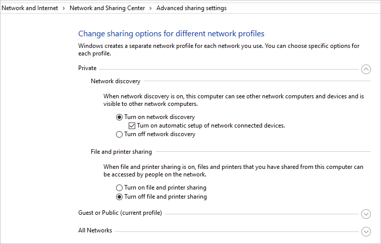 Private Sharing Settings