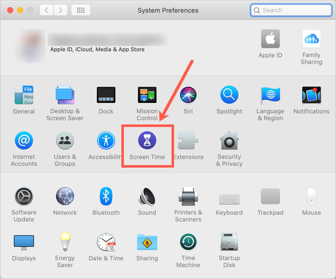 Screen Time in Mac System Preferences
