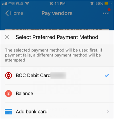 Set Preferred Payment Method
