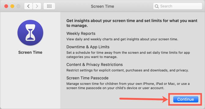 Setup Screen Time in Mac