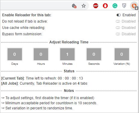 Tab Reloader Status