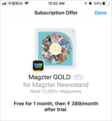 Trial subscription Offer Details