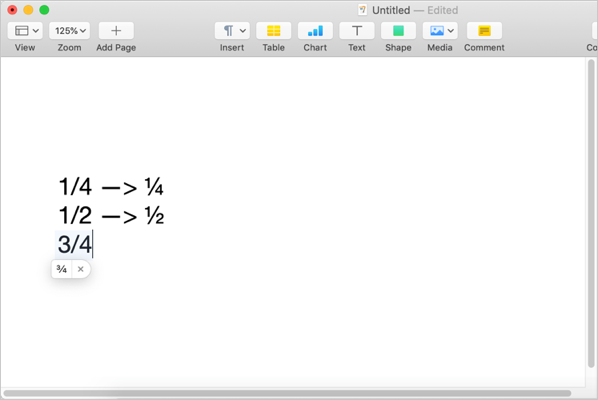 Typing Fraction Numbers in Mac Pages