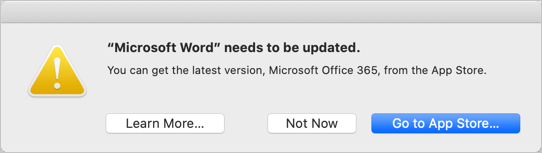 Word 2011 32-bit App Error in macOS Catalina