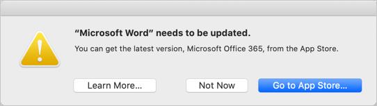 Word 2011 32-bit App Error in macOS Catalina
