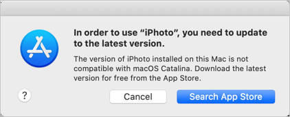 iPhoto App Error in macOS Catalina