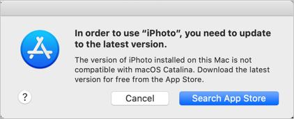 iPhoto App Error in macOS Catalina