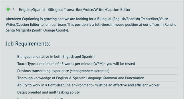 Abercap Transcription Job Post