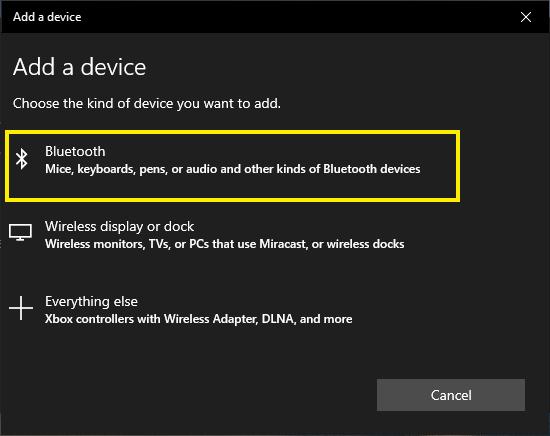 Add Bluetooth Device in Windows 10