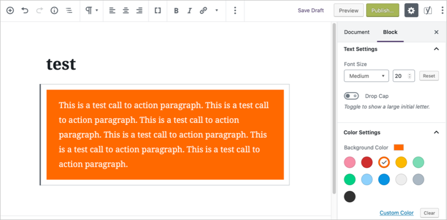 Add Call to Action in Gutenberg Editor