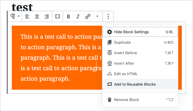 Add Reusable Block in Gutenberg