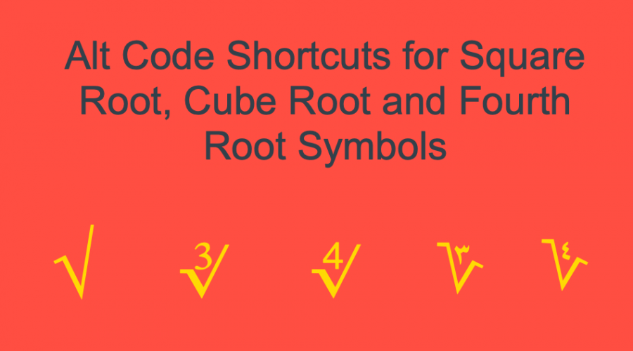 How to Type Square Root, Cube Root and Fourth Root Symbols?