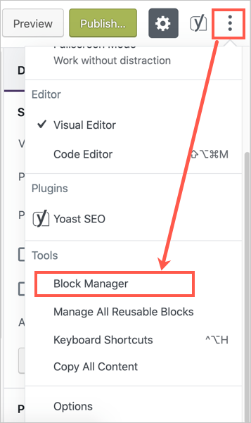Block Manager in Gutenberg