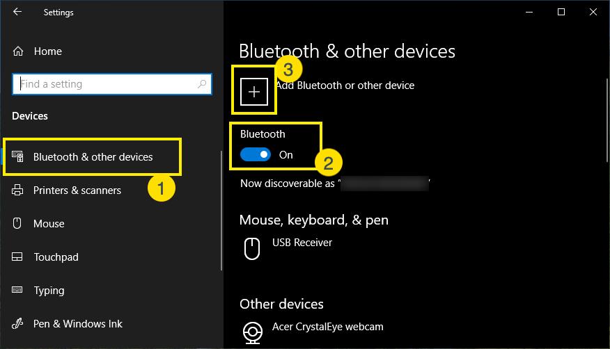 Adding Bluetooth Device Option