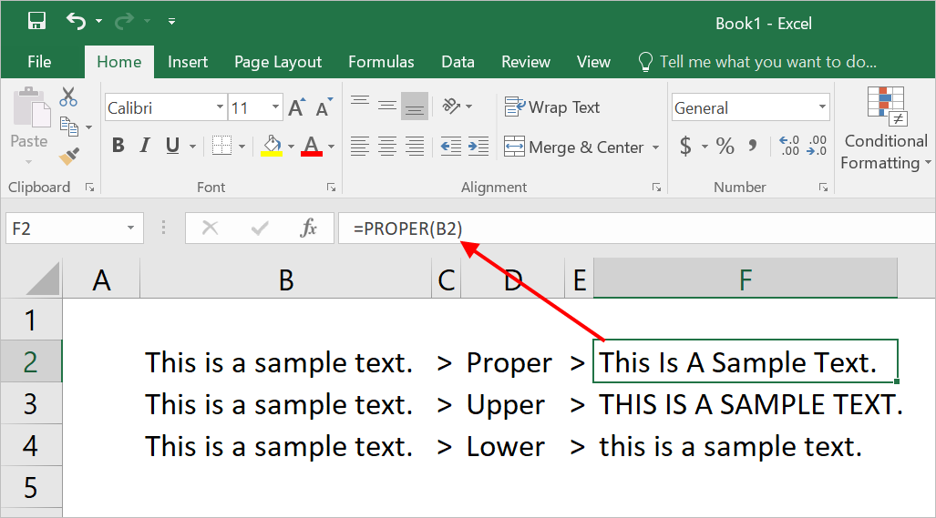 Change Text Case in Excel