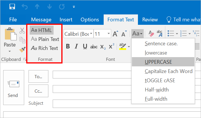 Change Text Case in Outlook