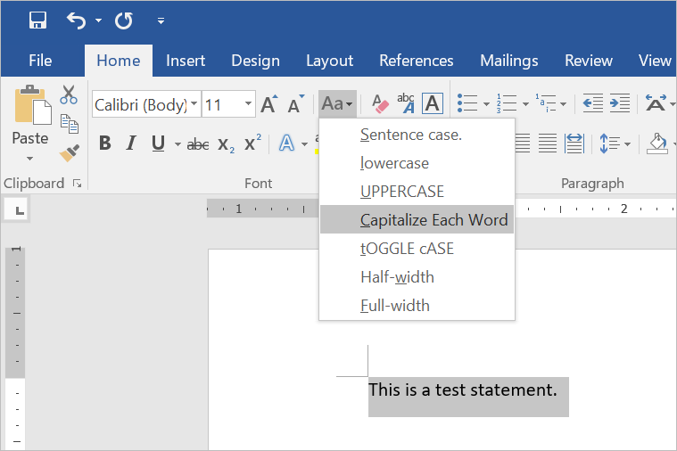 Change Text Case in Word