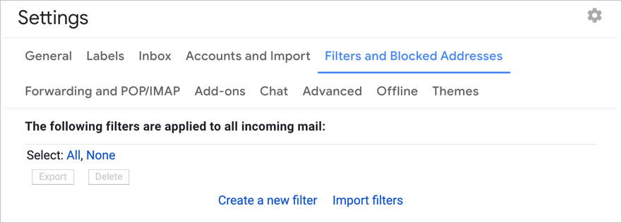 Delete Filters in Gmail