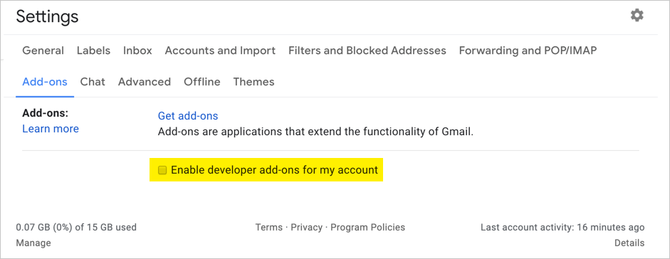Disable Add Ons in Gmail