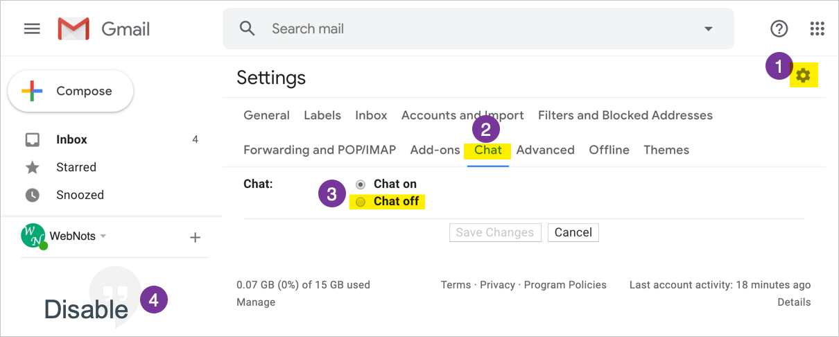 Disable Hangouts Chat in Gmail