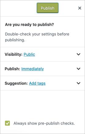 Отключить проверку перед публикацией