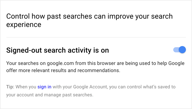 Disable Sign Out Search Activity
