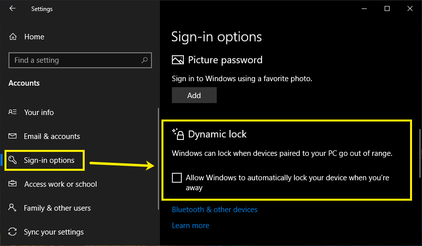 Enable Dynamic Lock in Windows 10
