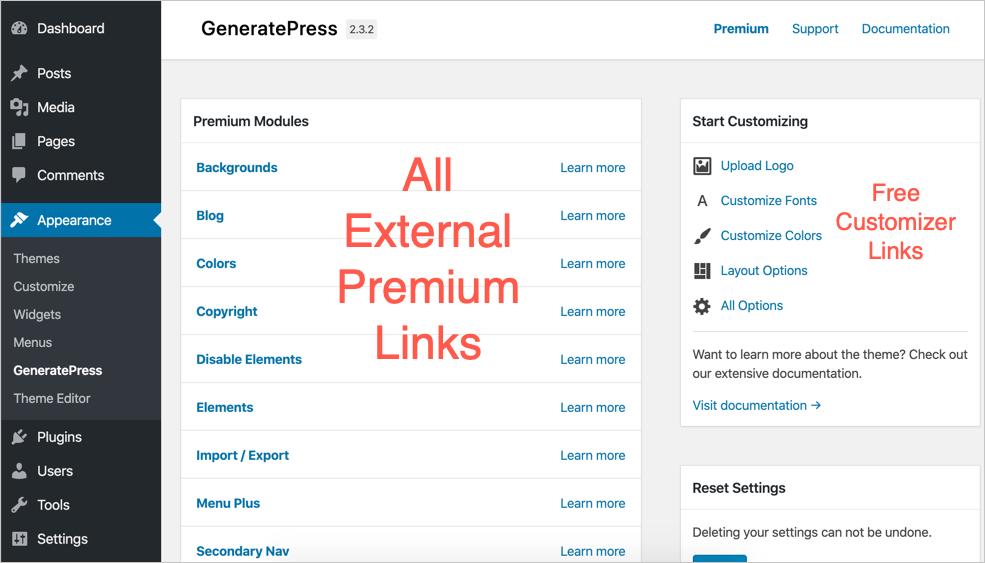 GeneratePress Premium Links