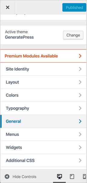 GeneratePress Theme Options