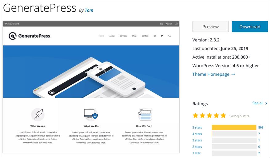 GeneratePress WordPress Theme Page