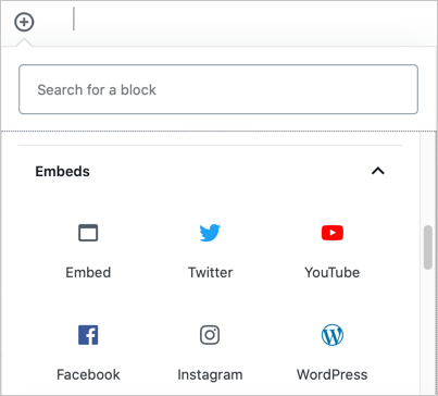 Gutenberg Embeds Blocks