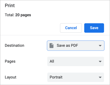 Save Webpage as PDF in Chrome
