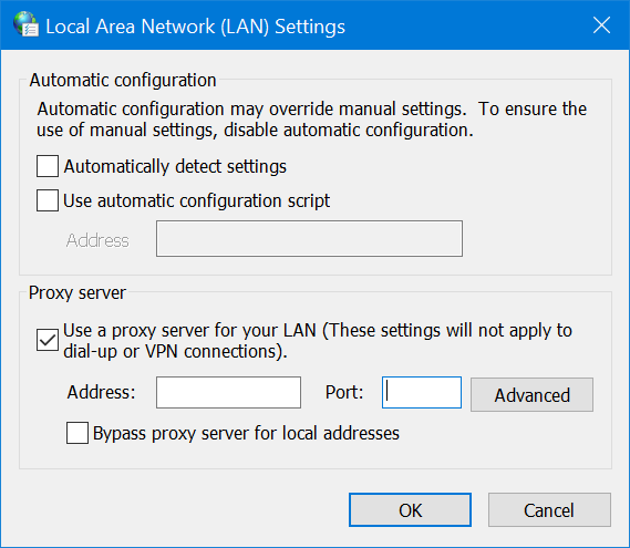 Setup Proxy Server in Windows 10
