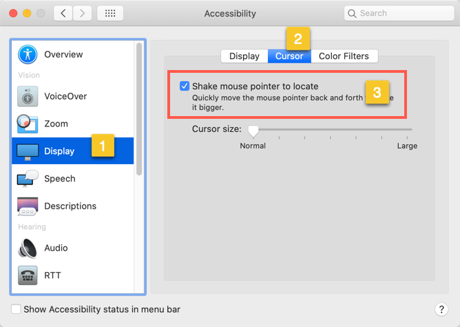 Shake Mouse to Locate Pointer in Mac