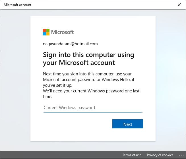 Sign in With Microsoft Account