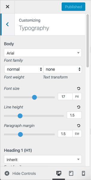 Typography Options in GeneratePress
