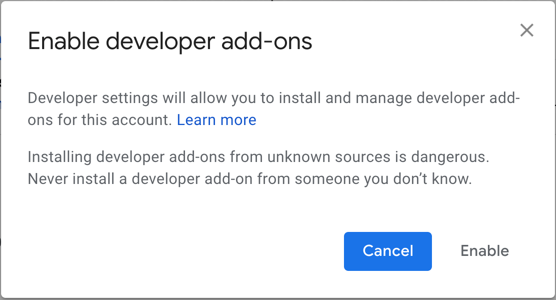 Warning When Enabling Developer Add Ons