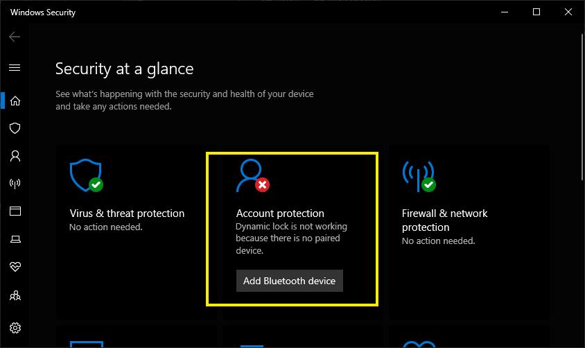 Windows Security Error for Dynamic Lock