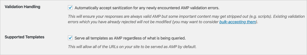 AMP Validation Handling