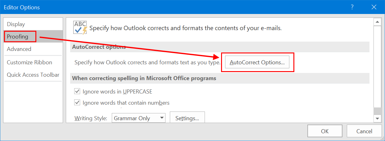 AutoCorrect Options in Outlook