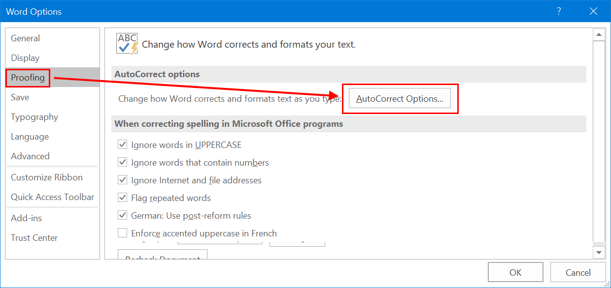 AutoCorrect Settings in Office