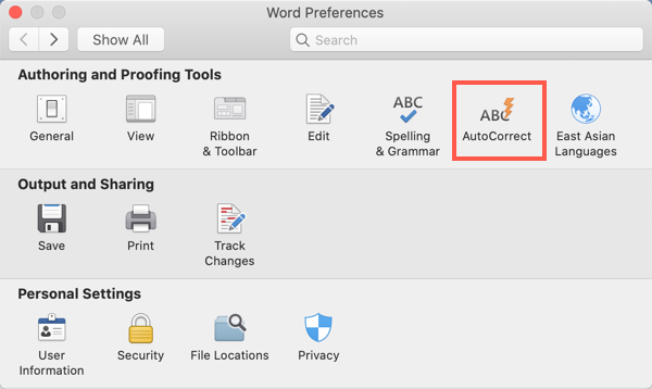 AutoCorrect in Office 365 Mac